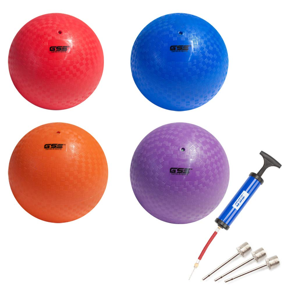 GSE Games & Sports Expert 10-inch Classic Inflatable Playground Balls (5 Colors Available) (4 Pack - Red/Purple/Blue/Orange) by GSE Games & Sports Expert