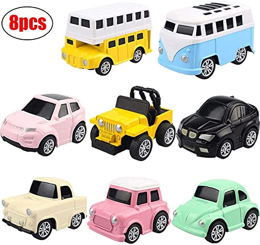 JINGYD Pull Back Cars, 8 Pack Mini Cars Set Alloy Micro Machines, Pull Back Vehicles Toy Cars: Amazon.es: Deportes y aire libre