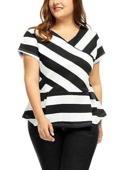 650b0ef8ccdc93 Agnes Orinda Women s Plus Size V Neck Inverted Pleats Striped Peplum Top 1X  Black