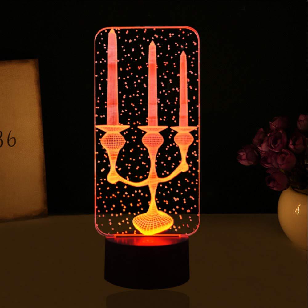 Shuangklei 3D Led Forma De Sostenedor De Vela Luz De La Noche 7 ...