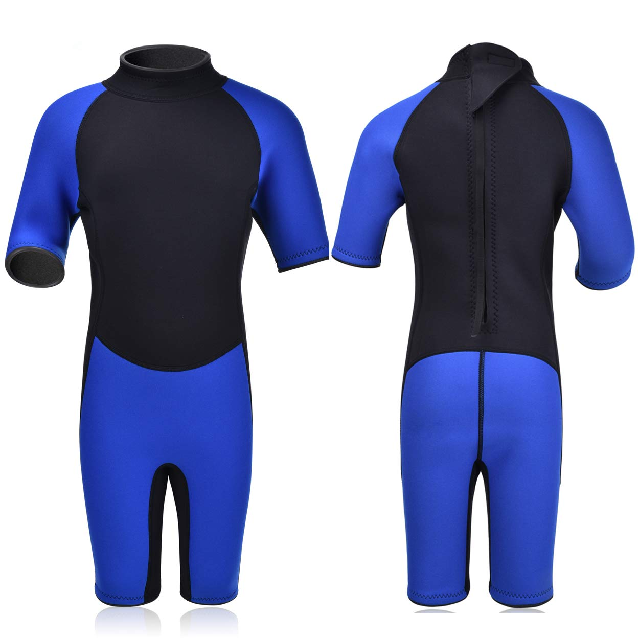 Realon Kids Wetsuit Shorty Full 3mm Premium Neoprene Lycra Swimsuit Toddler Baby Children and Girls Boys Youth Swim Surfing Snorkel Dive Snorkel XSPAN Back Zip Suit (Boy's Shorty Suit 3mm / Blue, XS)