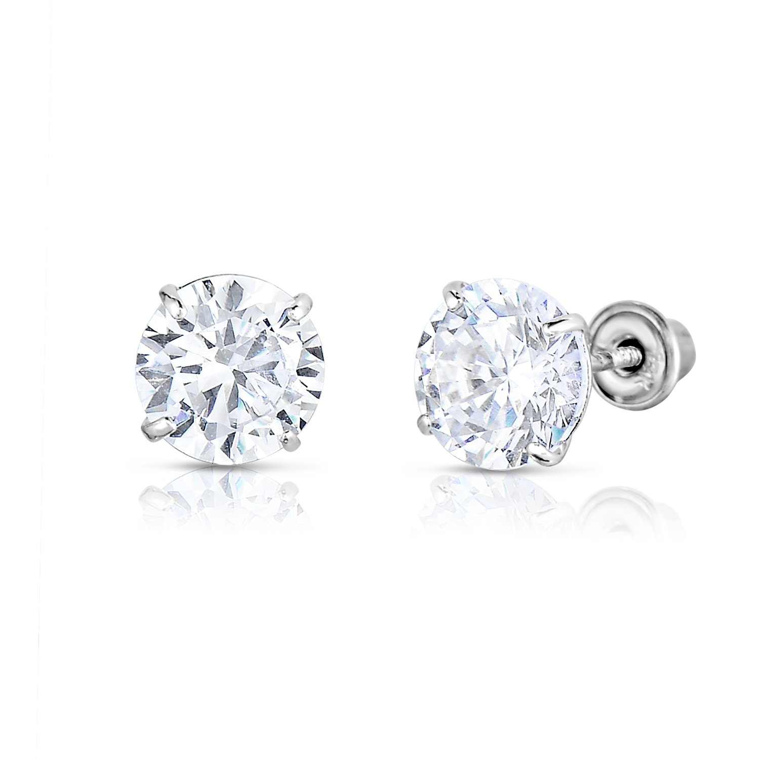 14k White Gold Solitaire Round Cubic Zirconia CZ Stud Earrings in Secure Screw-backs (5mm) by TILO JEWELRY