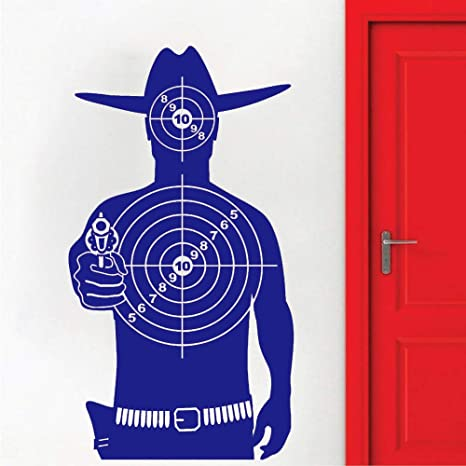 Target Vinyl Wall Decal Gming Room Shooting Gallery Cowboy ...