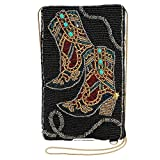 Mary Frances Hoe Down Beaded Western Cowgirl Boots Crossbody Phone Bag, Multi