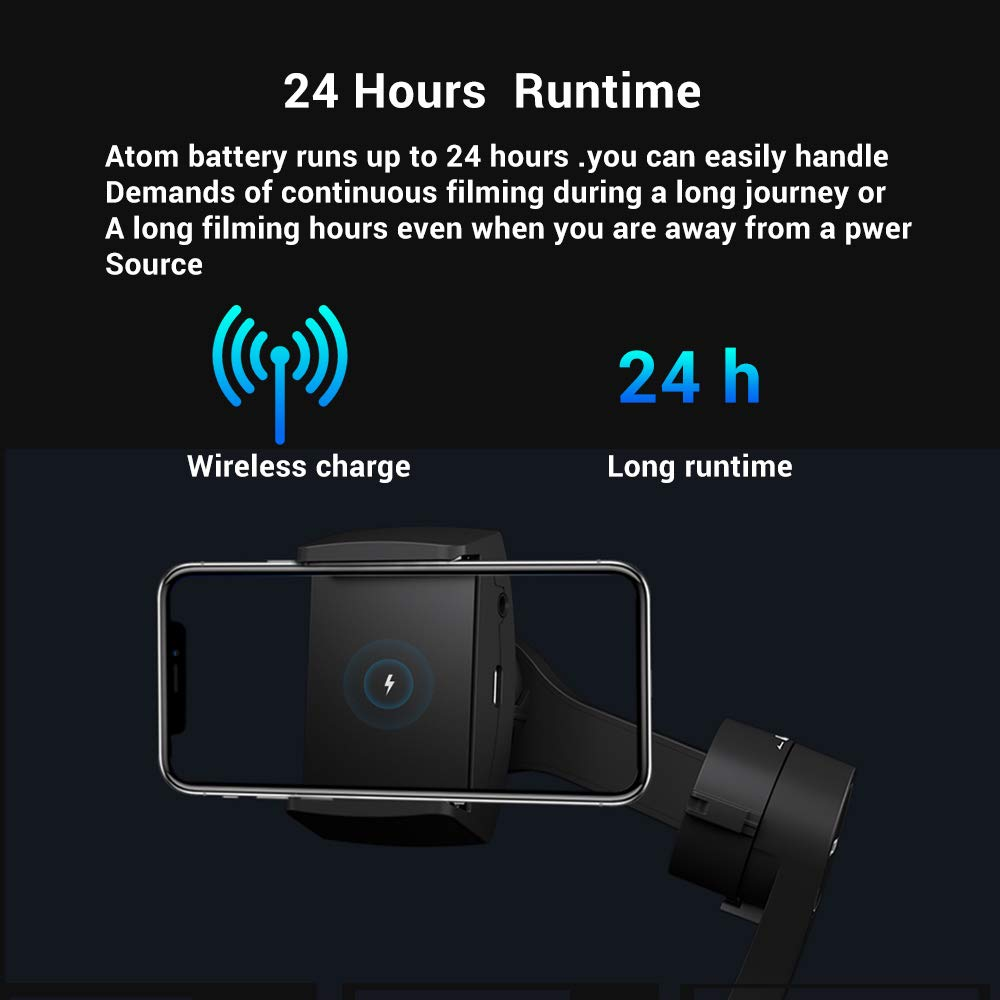 Snoppa Atom 3 Axis Foldable Gimbal for Smartphone & GoPro Hero 4 5 6, 310g  Payload, Wireless Charging, Built-in Mic Jack, One-Key Switch V/H