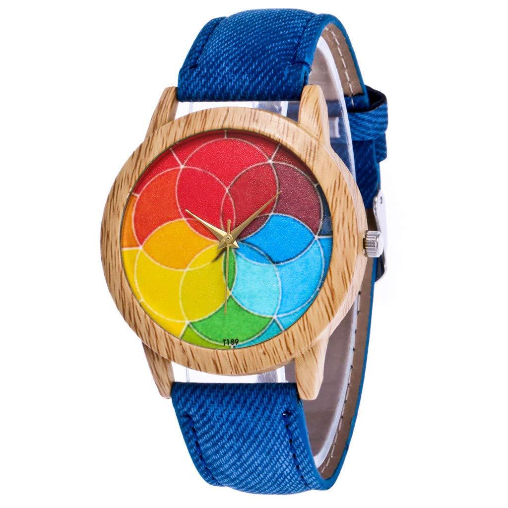 Ladies Fashion Watches,Women's Fashion Casual Leather Strap Analog Quartz Round Watch,Blue