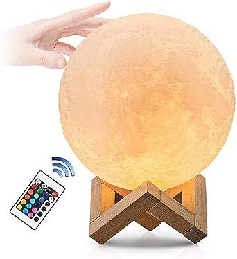 luna lampara, LED Lámpara de Luna con 16 colores touch/remoto ...