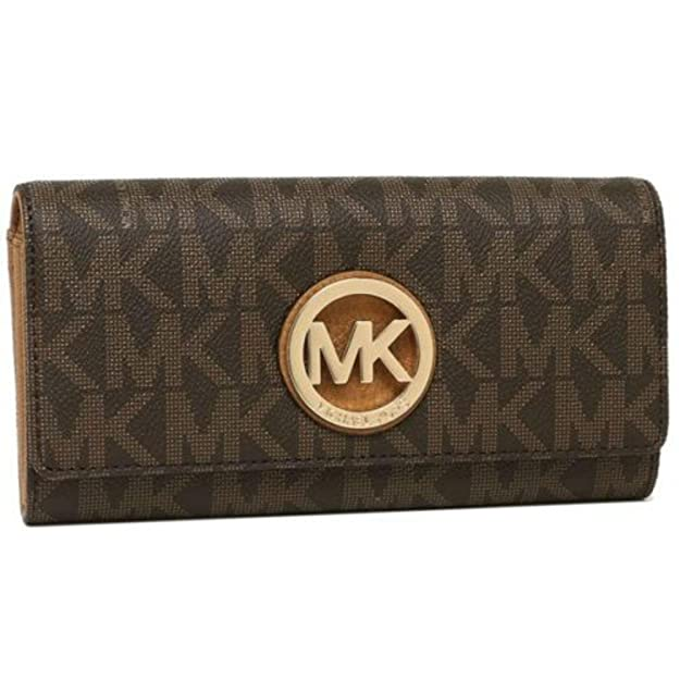 889692ce1940f0 Amazon.com: Michael Kors Fulton Flap Signature MK PVC Clutch Wallet Black:  Shoes