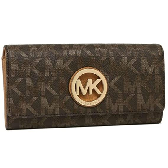 3a9258e8145b Michael Kors Fulton Flap Continental Clutch Wallet PVC Brown  Amazon.co.uk   Clothing
