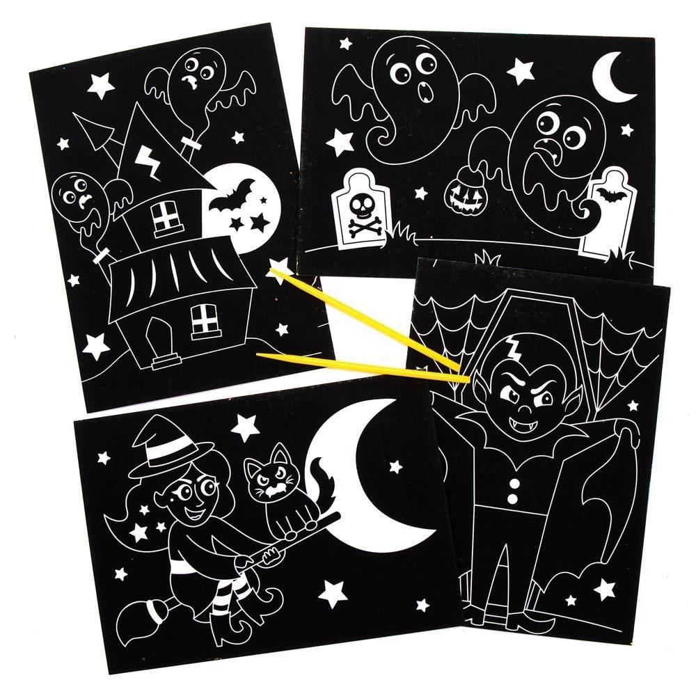 10 St/ück Kreative K/ünstler und Bastelbedarf f/ür Kinder zum Dekorieren zur Winterzeit Baker Ross AX247 Halloween Kratzbilder Bastelset f/ür Kinder
