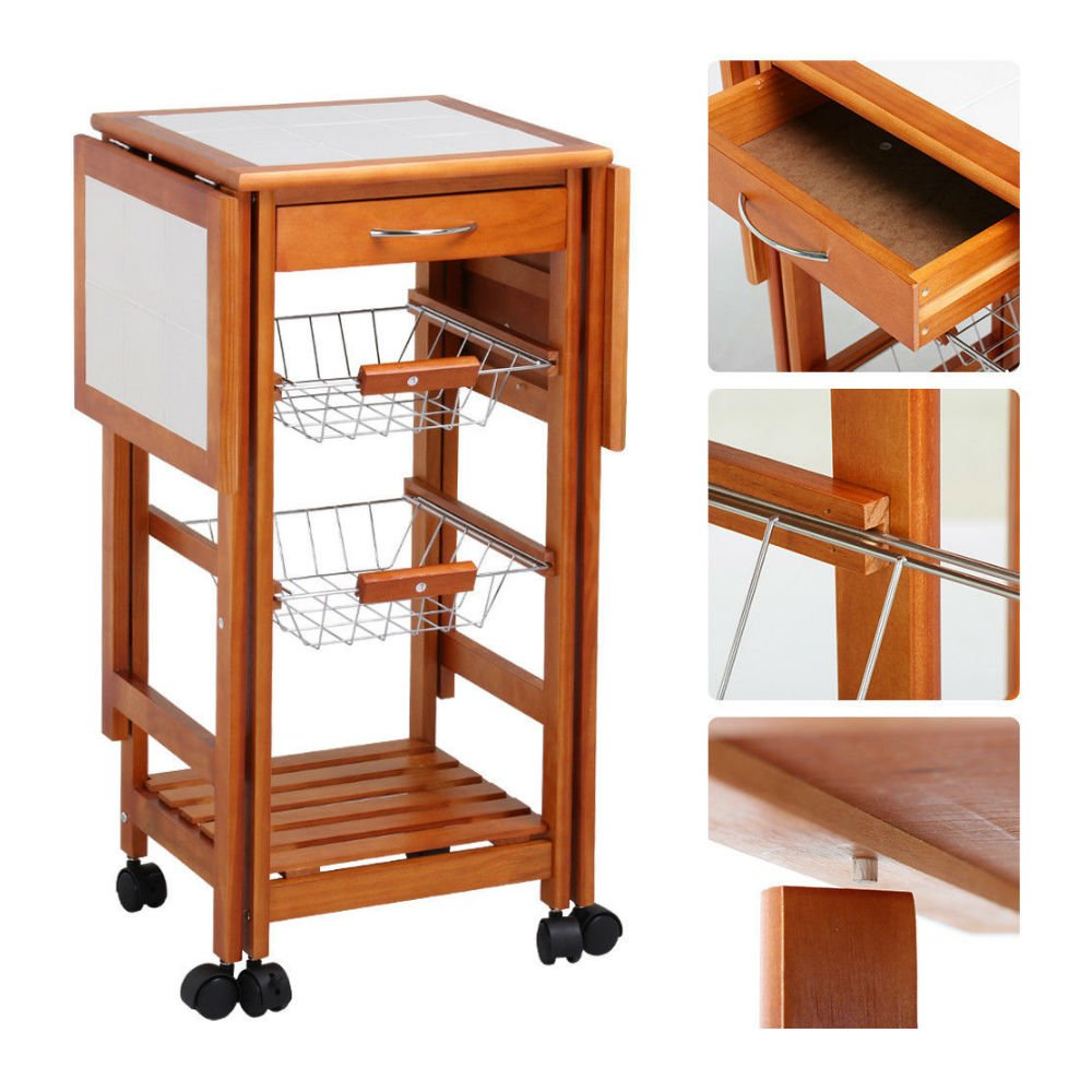 Portable Rolling Drop Leaf Kitchen Storage Island Cart Trolley Folding Table