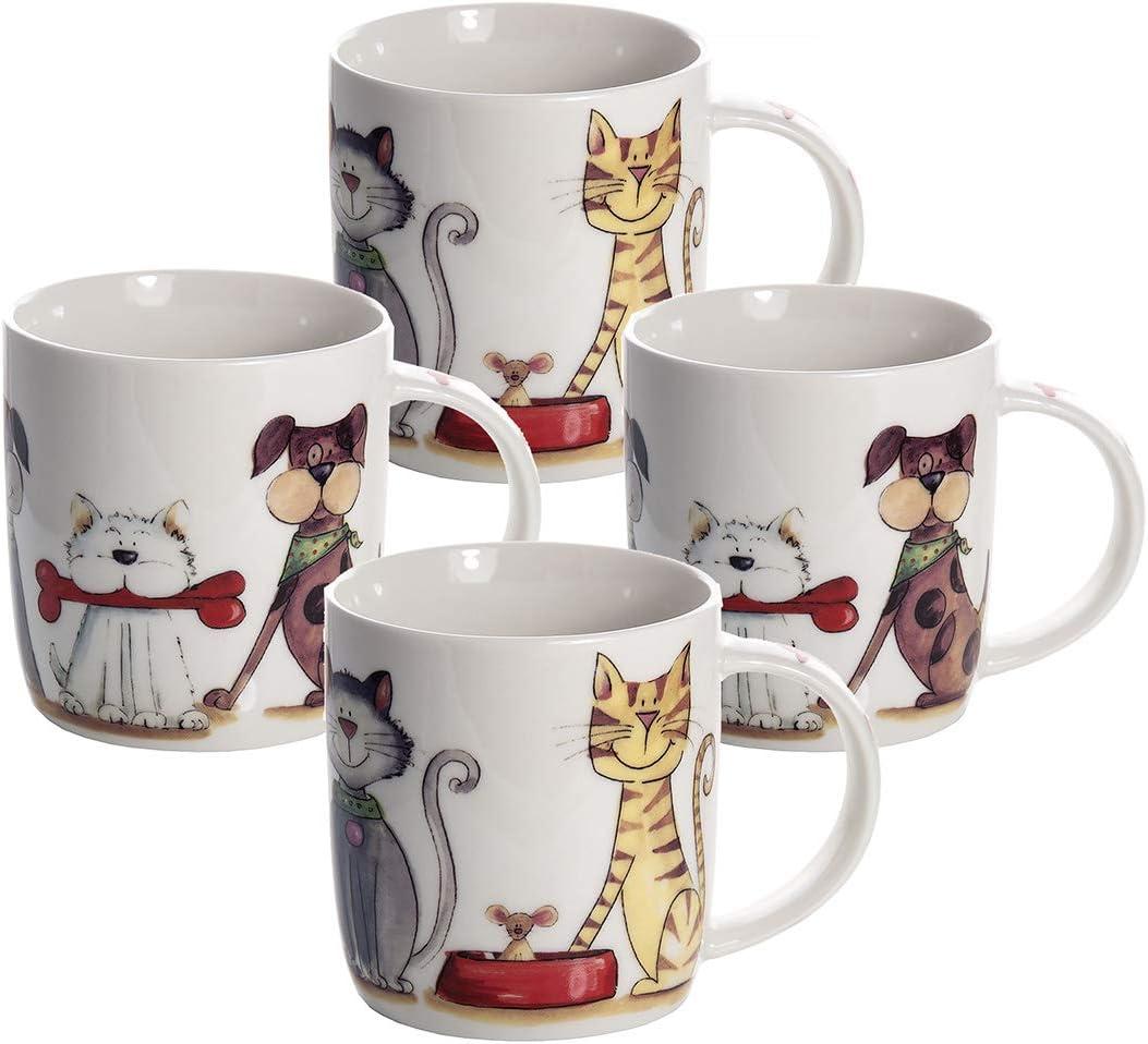 SPOTTED DOG GIFT COMPANY Juego Tazas de Café, Tazas Desayuno Originales de Té Café, Porcelana con Diseño de Gatos y Perros, 4 Piezas - Regalos para Amantes de los Animales Mujeres y Hombres
