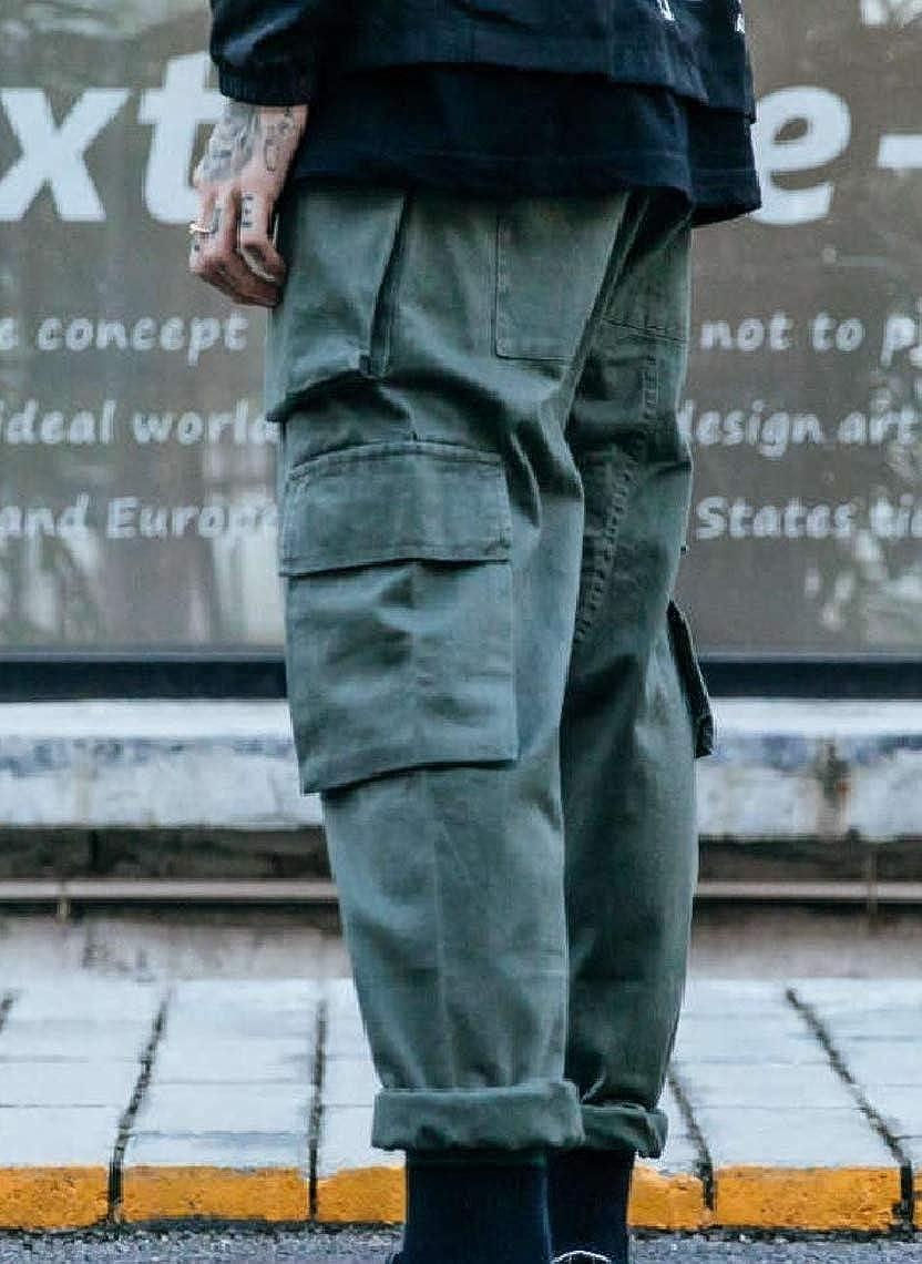 Fseason-Men Multi Pockets Simple Casual Tactical Ripstop Combat Trousers