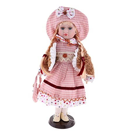 MagiDeal 18 inch Vintage Porcelain And Cloth Splice Doll With Display Stand