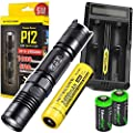 NITECORE P12 2015 1000 Lumen high intensity CREE XM-L2 LED long throw tactical flashlight with Nitecopre UM20 USB charger, Nitecore NL189 3400mAh rechargeable 18650 Battery and 2 X EdisonBright CR123A Lithium Batteries Bundle