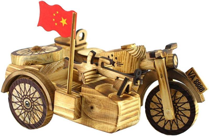 Healifty Madera Motocicleta Juguete Arte Artesanía Triciclo Motocicleta Modelo Escritorio Ornamento Decorativo Regalo para Oficina en Casa