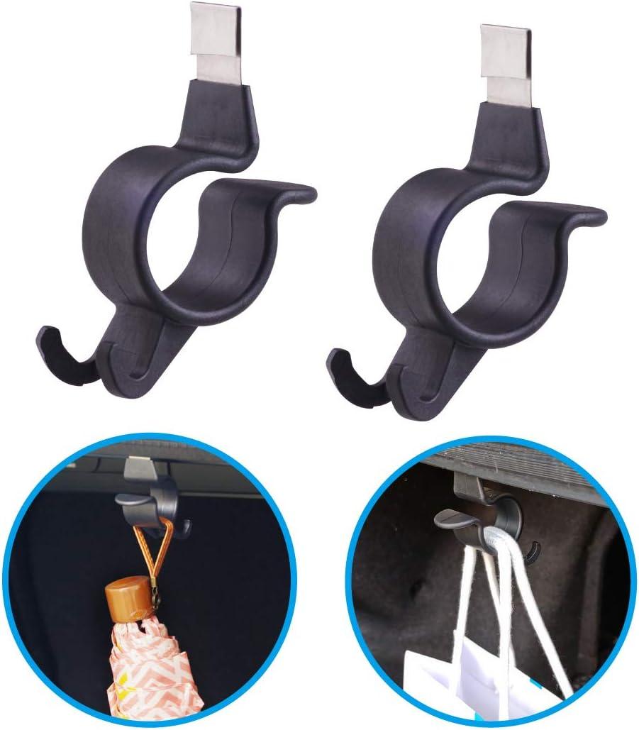 Hypersonic 2 ganchos para el maletero del coche, soporte para paraguas, organizador de almacenamiento de plástico negro