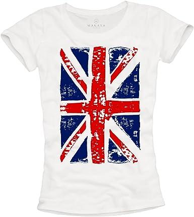 MAKAYA Union Jack - Camiseta con Bandera de Inglesa para Mujer ...