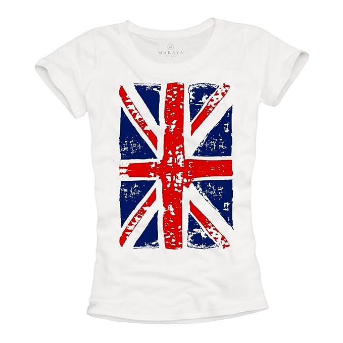 Union Jack - Camiseta con bandera de inglesa para mujer - Blanca L ...