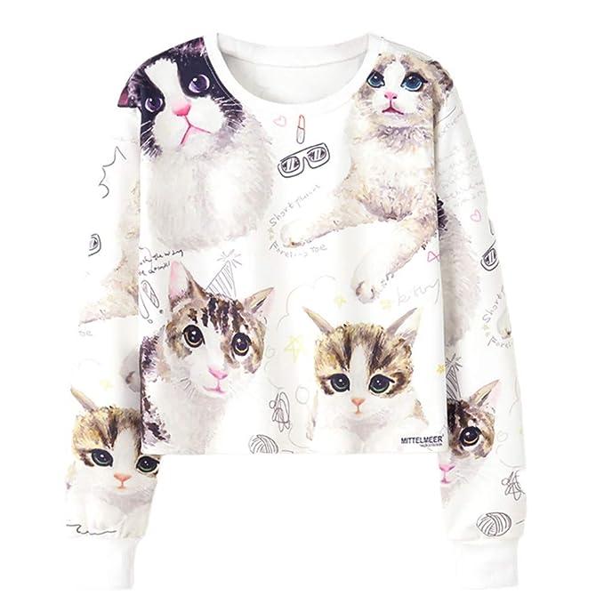 Longra✿✿☞☞♀♀ Lindo Gato Estampado de Manga Larga de impresión Casual Sudadera Pullover Top Blusa Sport Shirt: Amazon.es: Ropa y accesorios