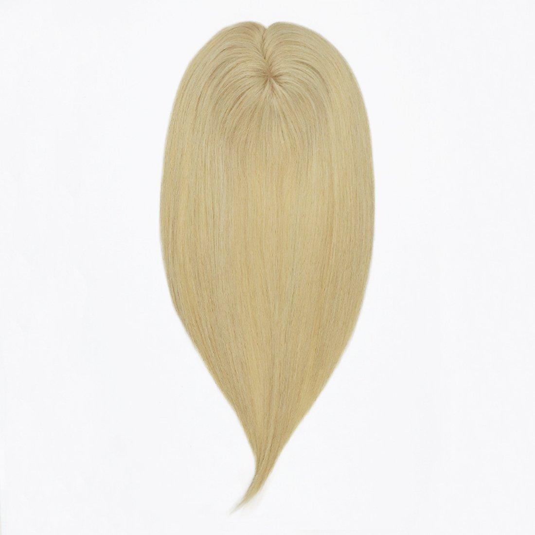 UniWigs Amber Silk Top Virgin Remy Human Hair Topper Pieces, Easy Volume For Hair Loss or Thin Hair (18'', 613#)