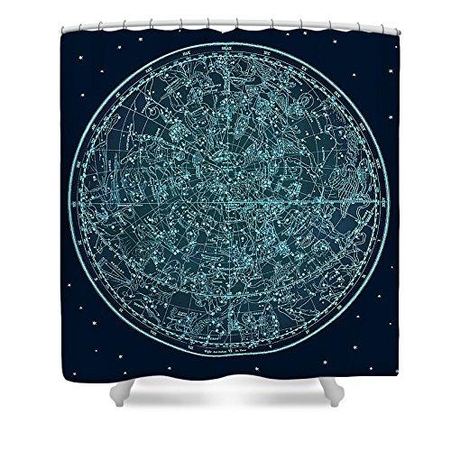 Pixels Shower Curtain (74'' x 71'') ''Vintage Zodiac Map - Teal Blue''