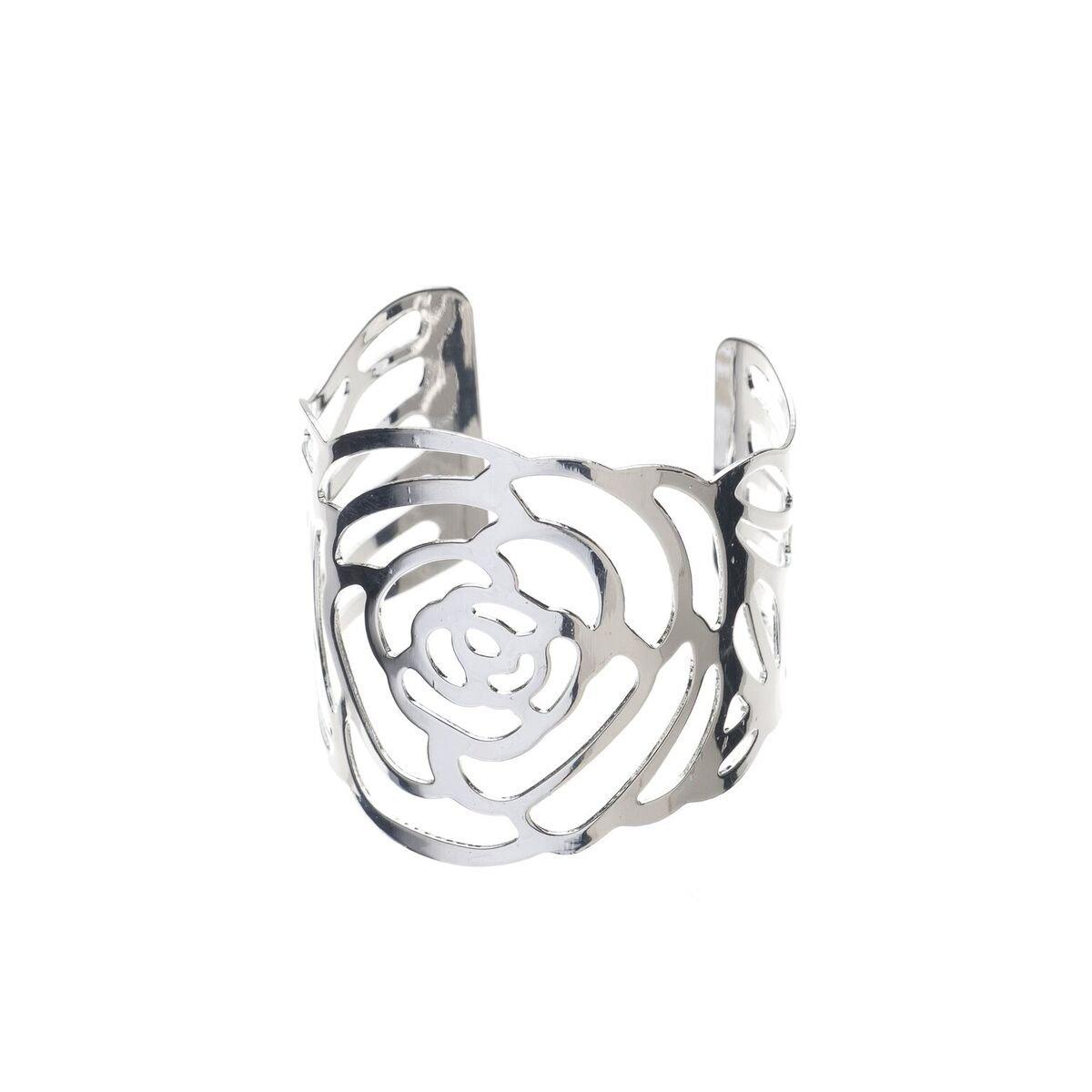 Ella Celebration Metal Rose Flower Napkin Ring Holders, Bulk Napkin Rings for Weddings, Silver Set of 12 (Silver)
