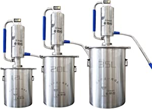 YUEWO DIY Home Moonshine Still Alembic Spirits Alcohol Essential Oil Water Distiller 304 Stainless Steel Wine Making Kit (5.2 Gallon/20L)