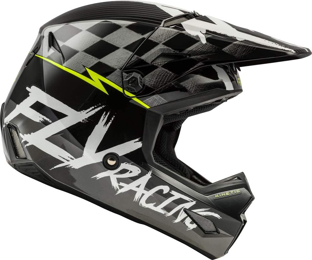 Medium Matte Black//White//HI-VIZ Fly Racing 2020 Youth Kinetic Helmet Sketch