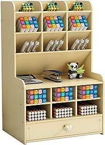 Wooden Desk Organizer with Drawer, Large Capacity DIY Pen Holder Storage Box Desktop Stationary Storage Rack, Pen Organizer Caddies for Office, Home and School Supplies (B16-White Maple)