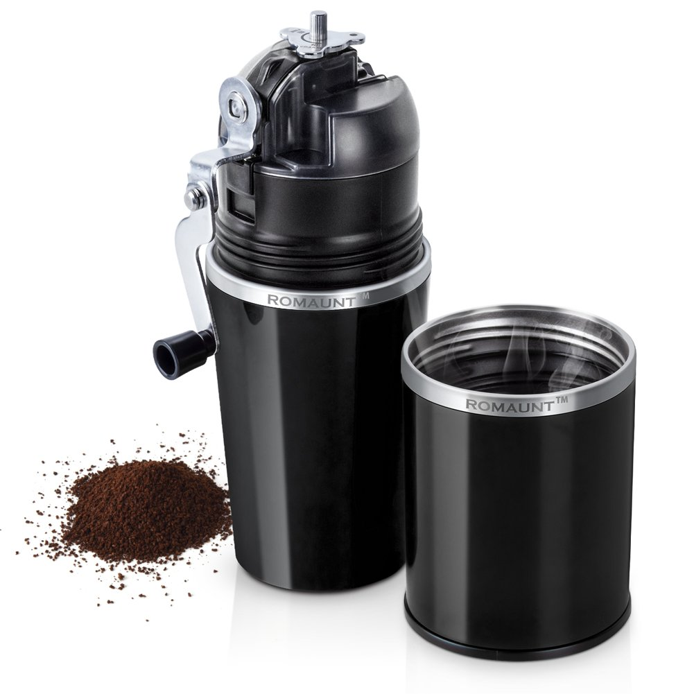 Travel Coffee Grinder Set ROMAUNT All In One Portable Manual Grind Brew Coffee Maker Single Serve 2X Stainless Steel Mug Ceramic Burr Brewer Gift (Black)