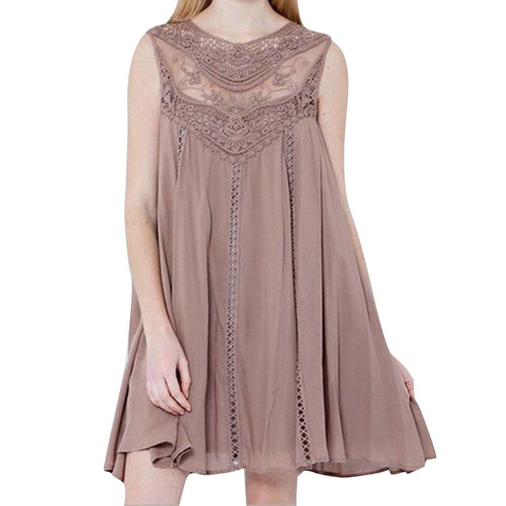 Libermall Women's Dresses Summer Lace Stitching Solid Chiffon Beach Sundress Evening Party Mini Dress Pink
