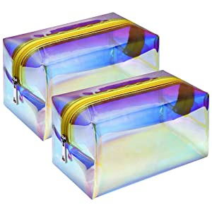 Cosmetic Bag, F-color 2 Pack Holographic Travel Makeup Bag Large Capacity Toiletry Bag for Women, Gold
