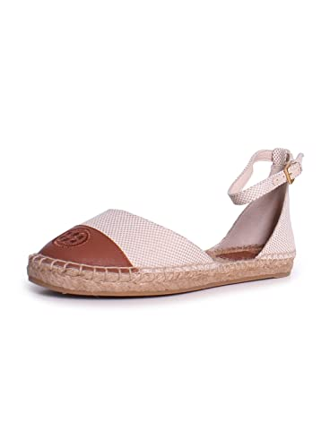 bbba733de82 Tory Burch TB Colorblock Ankle-Strap Espad 7.5 Perfect Sand Perfect Cuoio