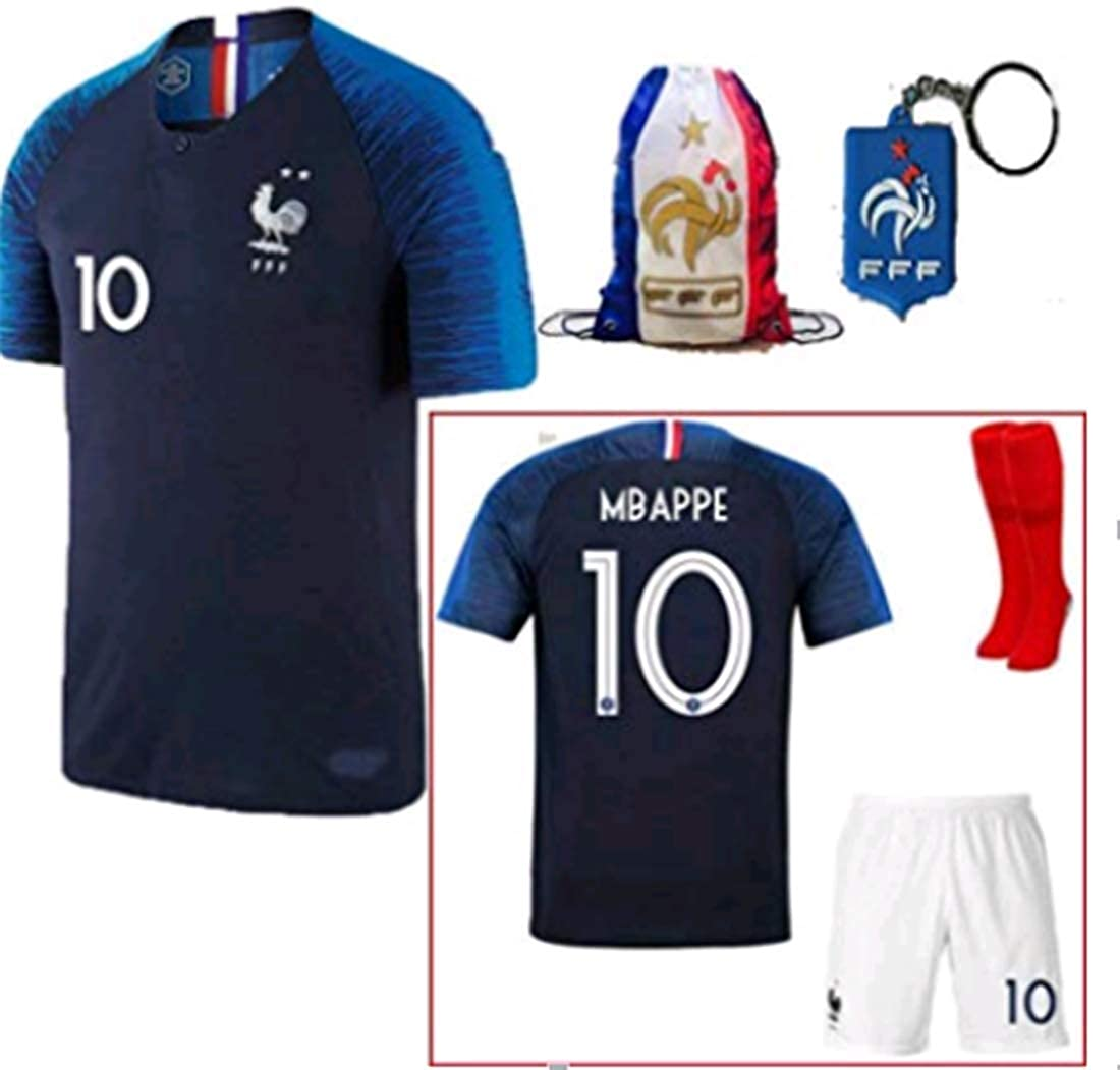Jersey /& Shorts /& Socks Bag LISIMKE France Home Soccer Team Mbappe #10 Kid Youth Replica Jersey Kit
