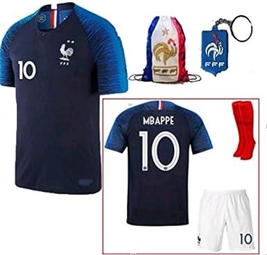 promo code 6a51b baaa6 LISIMKE France Home Soccer Team Mbappe #10 Kid Youth Replica Jersey Kit :  Jersey & Shorts & Socks Bag