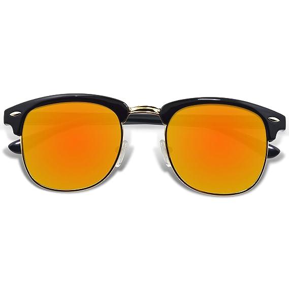 WHCREAT Lunettes De Soleil Polarisées Rétro Unisexes Demi-Monture Hommes  Femmes-Noir Cadre Orange 7f0c81f3e68f