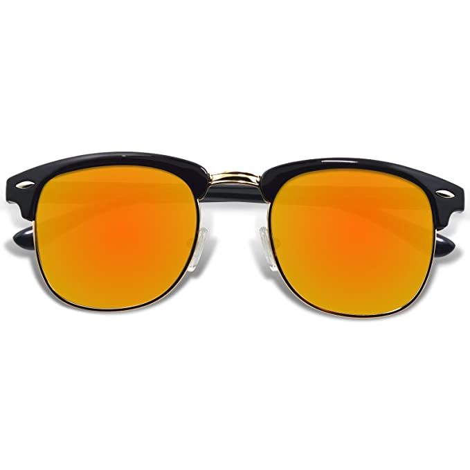 WHCREAT Gafas De Sol Polarizadas Retro Clubmaster Unisex Medio Marco Para Hombres y Mujeres-Negro