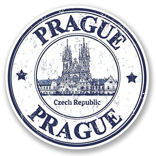 2 x 10cm/100mm Prague Czech Republic Vinyl Sticker Decal Laptop Travel Luggage Car iPad Sign Fun #4796