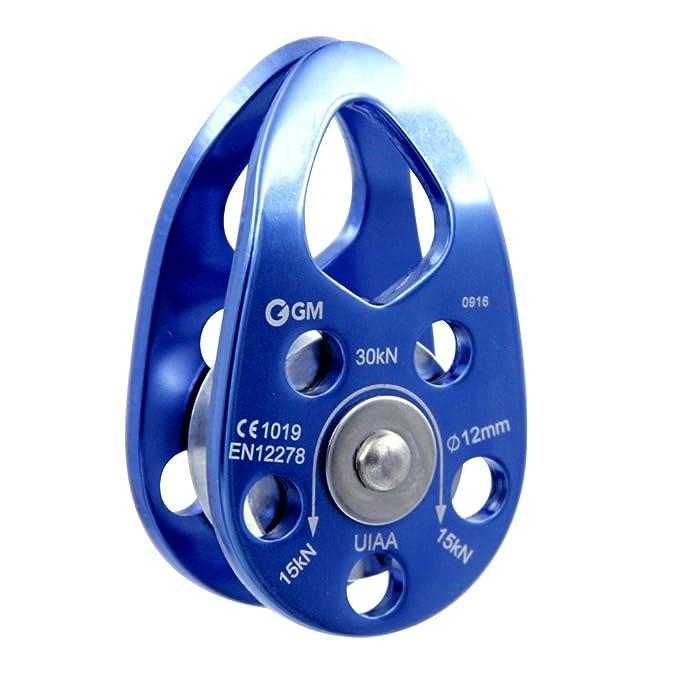 GM CLIMBING UIAA Certificado 30kN oscilaci/ón mejilla polea Azul prop/ósito General