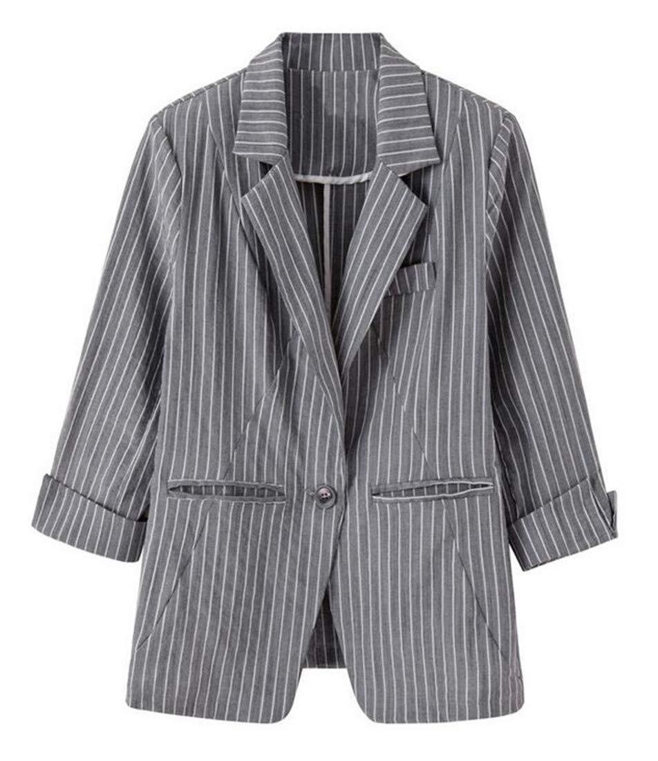 Domple Womens Autumn Outwear Stripe Lapel Slim One-Button Blazer Coat Aspic US S by Domple (Image #1)