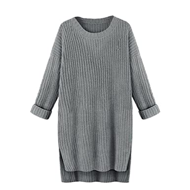 1d1c2693a YuanDian Women Ladies Fall Casual Baggy Long Knitted Sweaters Split ...