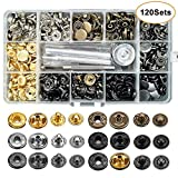120 Sets Snap Fasteners Kit, Metal Snap Buttons Press Studs with 4 Pieces Fixing Tools, 6 Color Clothing Snaps Kit for Leather, Coat, Down Jacket, Jeans Wear and Bags