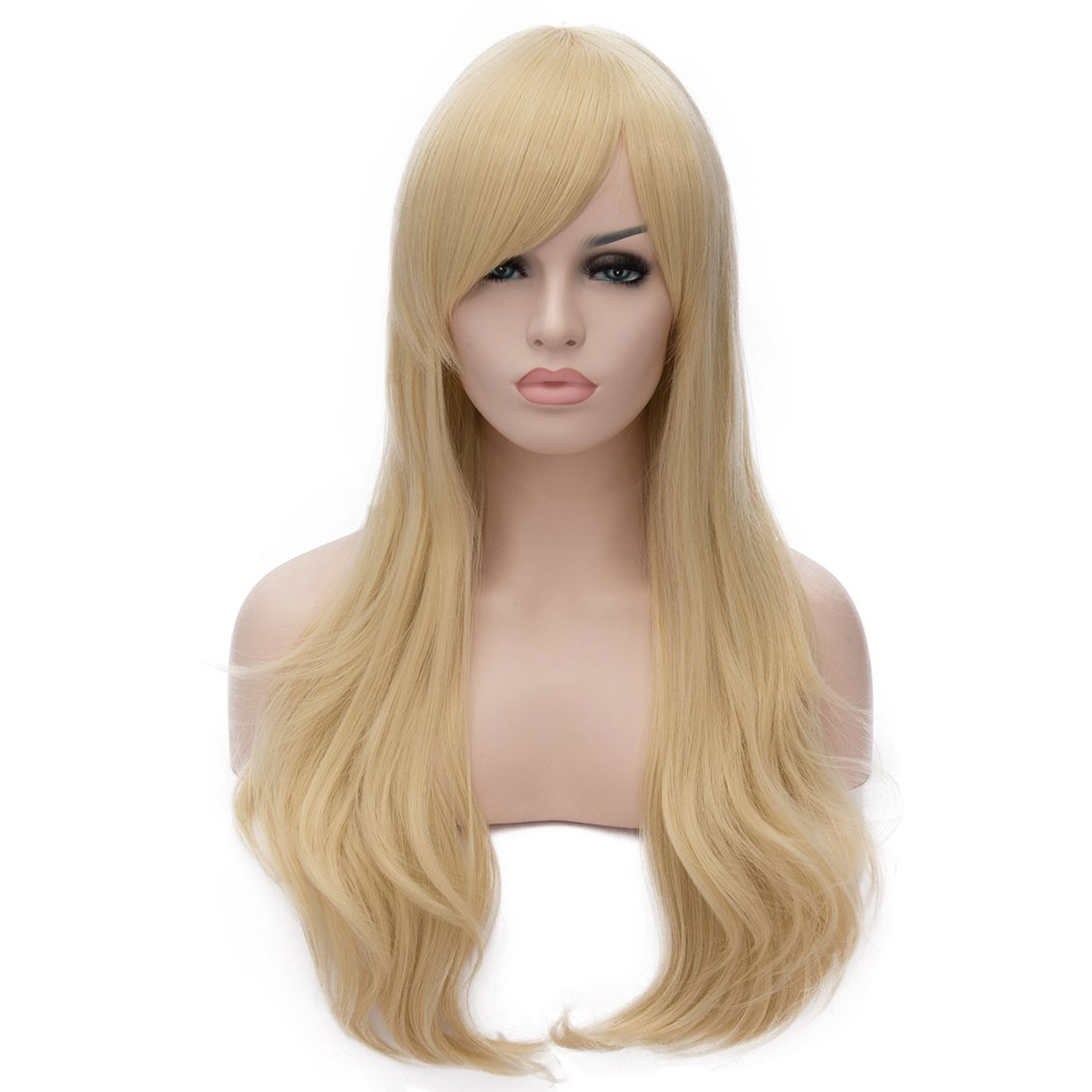 YOPO 28 Wig Long Big Wavy Hair Women Cosplay Party Costume Wig(Light Blonde) Blonde Curly Wig