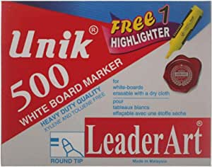 Unik 500 White Board Marker Round Tip Set Of 12 With Yellow Highlighter Marker - Green