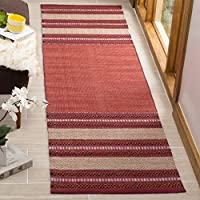 Safavieh Montauk Collection MTK214C Red and Ivory Runner (23 x 8)