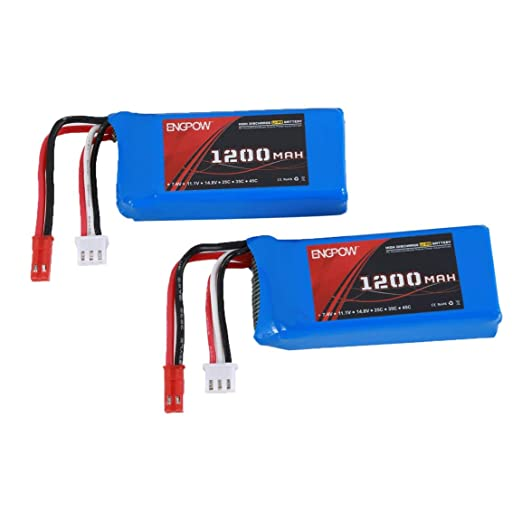 Garciasia 2PCS Engpow 7.4V 1200mAh 2S Recargable Lipo Batería JST ...