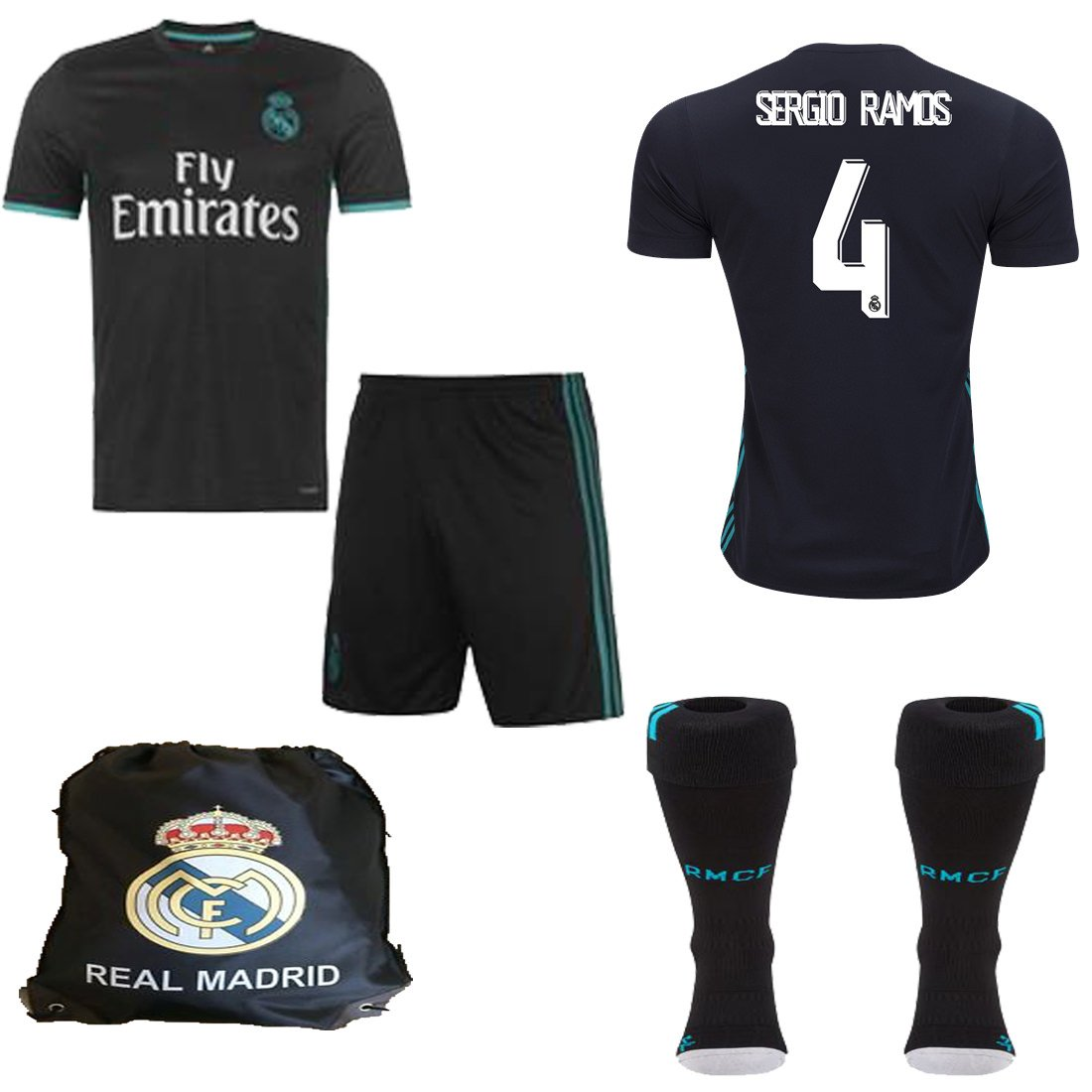 Real Madrid NBロナウドBale Benzema Ramos 2017年2018 17 18 kidユースレプリカAway Jerseyキット:シャツ、ショート、靴下、バッグ B07DGQPVTJ  Size 20 (3-4 Yrs Old Approx.)