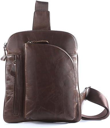 Genda 2Archer Leather Shoulder Crossbody Bag Chest Pack Pouch for Men Brown