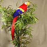 20 Inch Long Colorful Red Artificial Macaw Parrot Bird for Displays, Commercial Design, and Entertaining